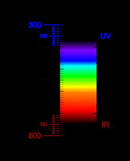 Lichtspektrum blaues Licht Lichttherapie Lichtdusche | By Fulvio314 (Own work) [CC BY-SA 4.0], via Wikimedia Commons